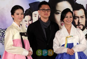 Liu Yifei wearing hanbok promoting A Chinese Ghost Story